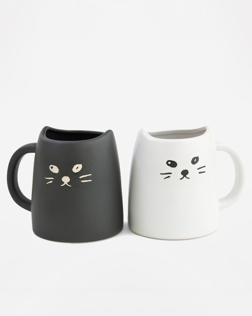 morning registry items miya black white cat two piece mug set