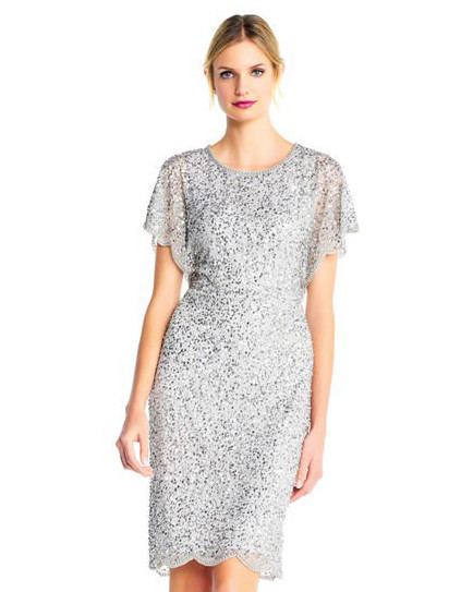 grey silver bridesmaid dresses adriana papell sequin beaded dress