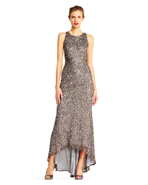 grey silver bridesmaid dresses adrianna papell beaded halter gown