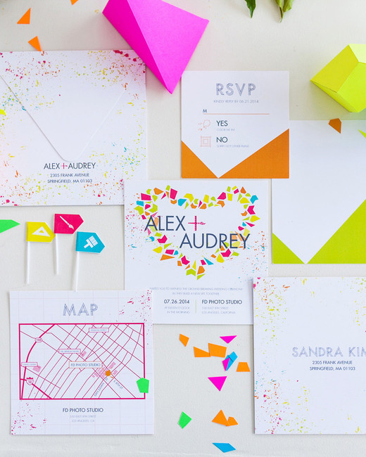 neon polygons geometric wedding invitations