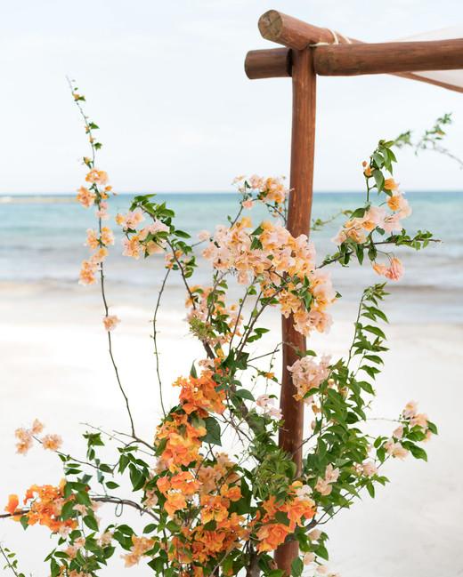 ariel trevor wedding tulum mexico beach chuppah bouganvillea