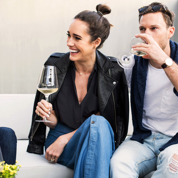 Louise Roe and Mackenzie Hunkin Tasting Wine