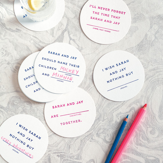 0fdb4e0dae Mad Libs Drink Coasters | Martha Stewart Weddings