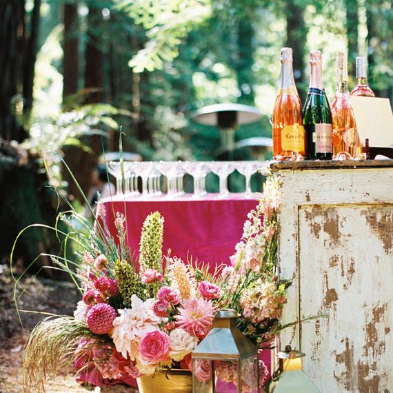 outdoor woods cocktail hour bar set up