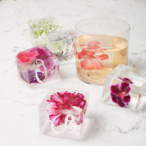 custom ice cubes with edible flowers