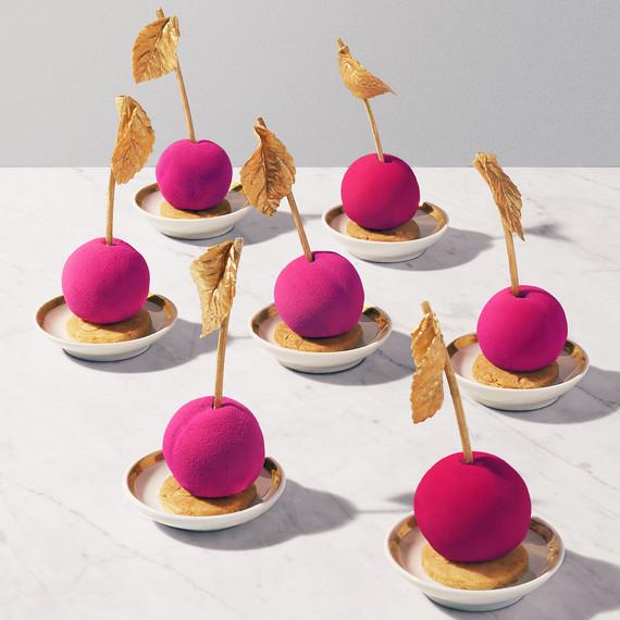 magenta gold cake balls