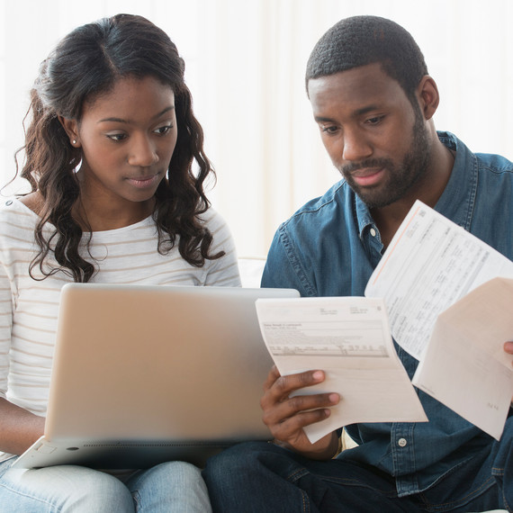 Couple Paying Bills, Handling Money
