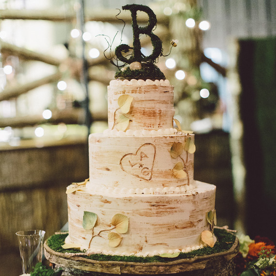 Aspen Birch Tree Cake With Monogram