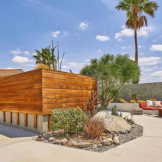 mod wooden hotel in desert