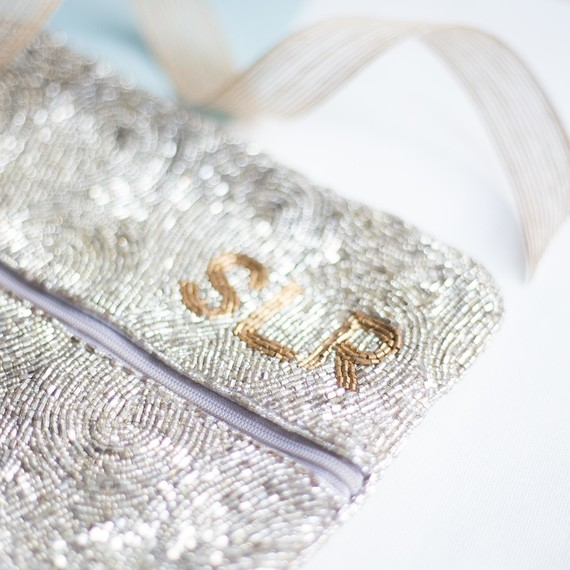 Tuckernuck Monogrammed Beaded Clutch Detail