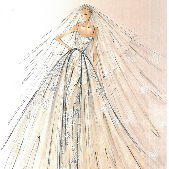 Elie Saab Spring 2018 Bridal Collection Sketch