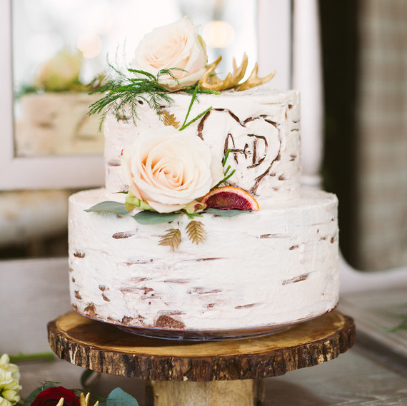 birch wedding cake