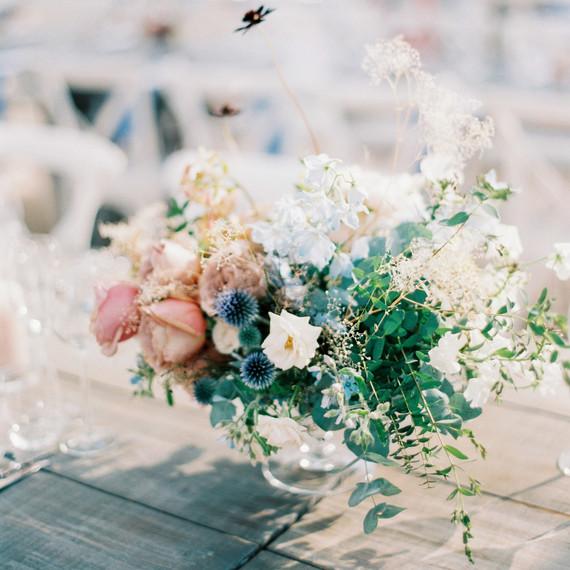 garden roses, orchids, or chocolate cosmos centerpieces