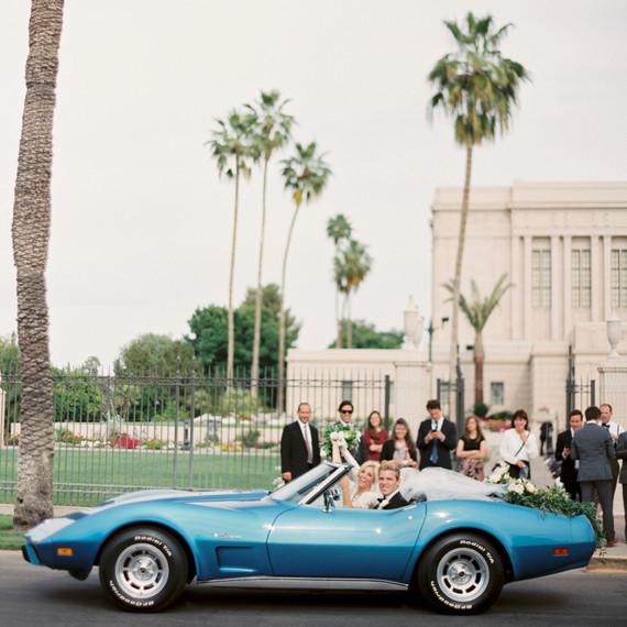 blue wedding getaway car