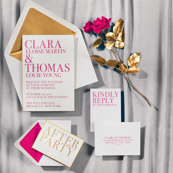 gold magenta stationery suite