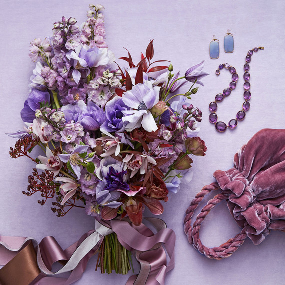 purple bouquet and accessories