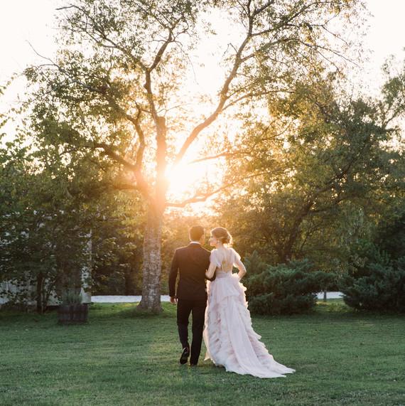wedding couple portraits sunset walk
