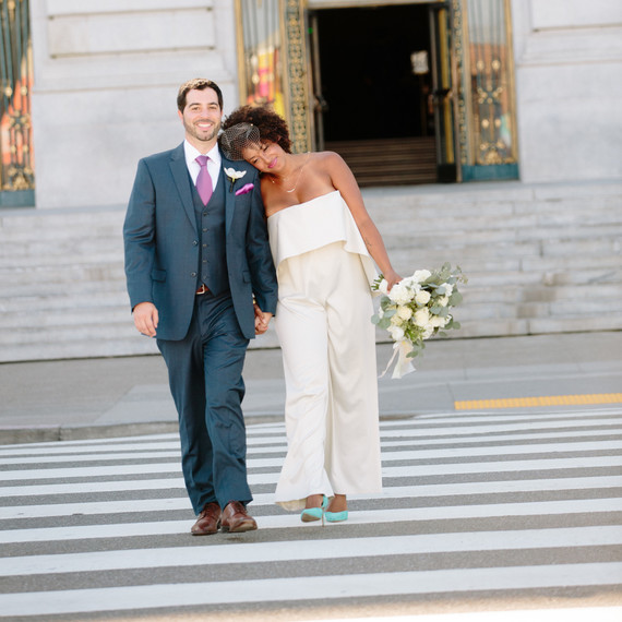 A Courthouse Wedding With Red And Gray Restaurant Reception