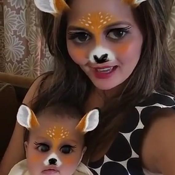 Chrissy Teigen and Luna Snapchat Selfie