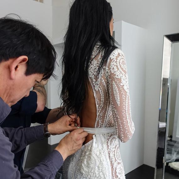 Nicole Williams wedding dress fitting with Michael Costello