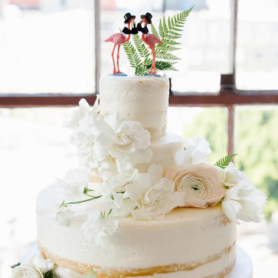Semi Naked Wedding Cake with Same-Sex Flamingo Topper