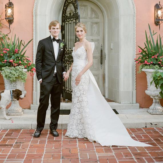 chelsea conor wedding couple in front of door