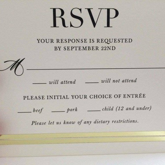 The hilarious typo that made this wedding rsvp card go viral rsvp card mistake that went viral on reddit stopboris Choice Image
