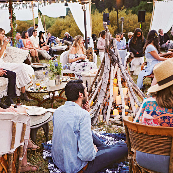 wedding guests rustic setting bon fire