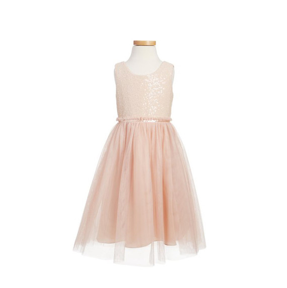 Pink tulle flower girl dress with a shiny bodice by Jenny Yoo from Nordstrom