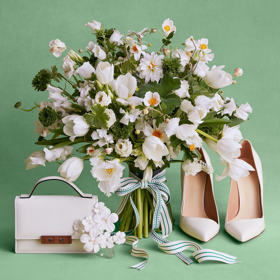 spring white bouquet and accessories shoes