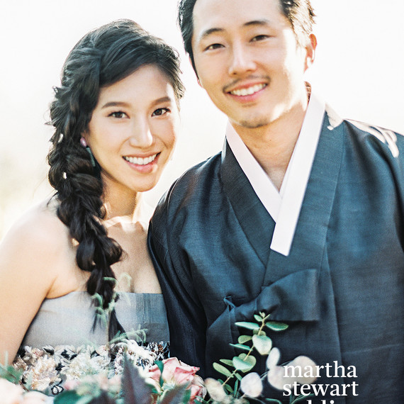steven yeun walking dead wedding couple portrait