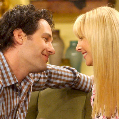 Phoebe and Mike (Lisa Kudrow and Paul Rudd) in a scene from Friends
