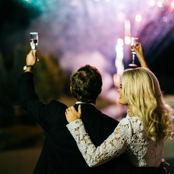 bride groom fireworks