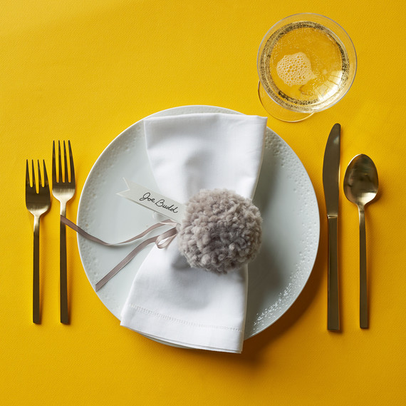 pom pom napkin holder place setting