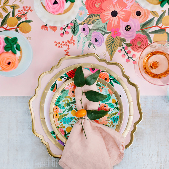 rifle paper co. floral bridal shower place setting