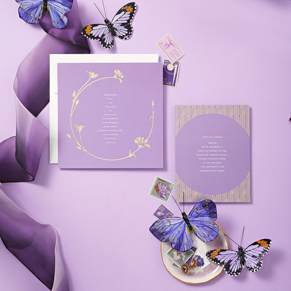 violet palette butterflies invitations