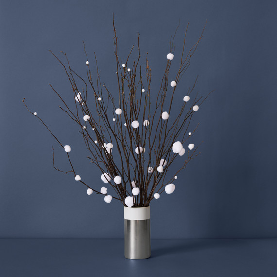 diy centerpiece pom pom branches gray