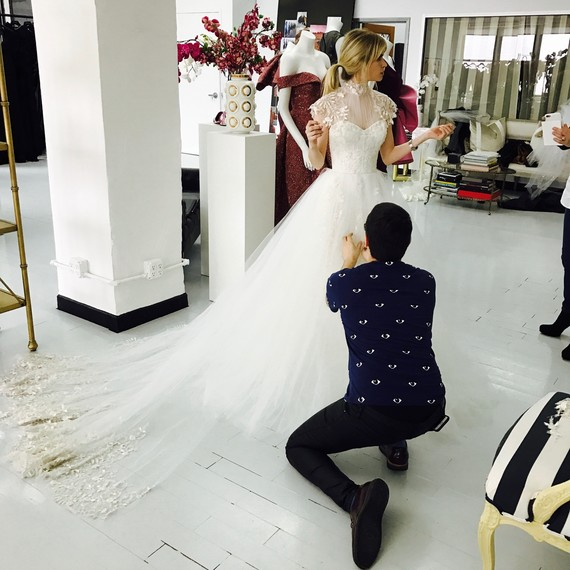 Carlson Young Dress Wedding Dress Fitting Custom Christian Siriano