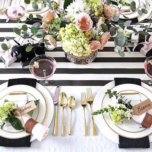 Striped tablescape