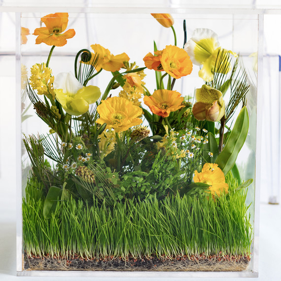 Chris Hessney Spring Shoot Table Base Filled with Yellow and Green Flowers