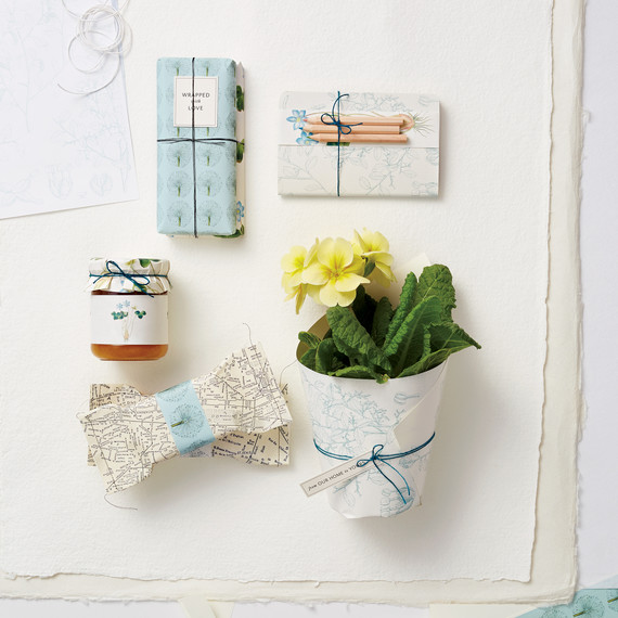 DIY party favors patterned paper and string