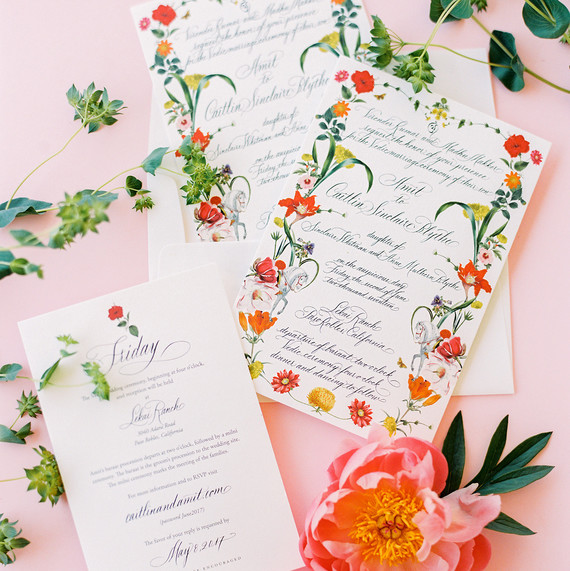 caitlin amit indian wedding invitation