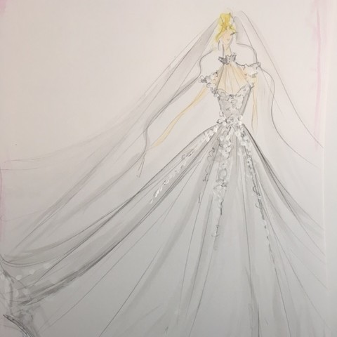 Christian Siriano Dress Sketch Custom Carlson Young Wedding Dress