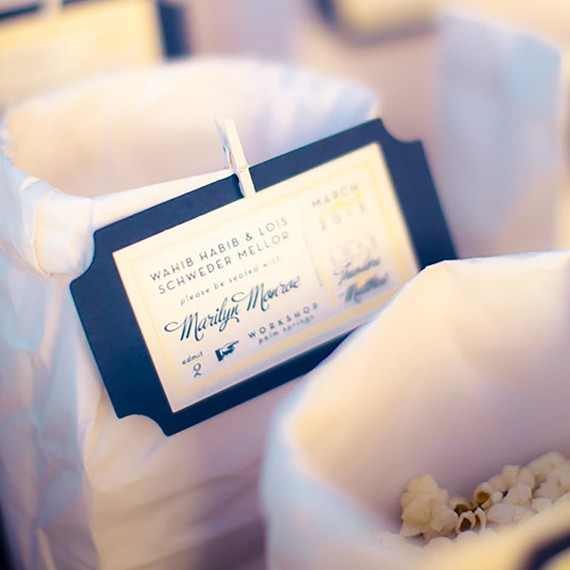 movie ticket escort card martha stewart weddings. Black Bedroom Furniture Sets. Home Design Ideas