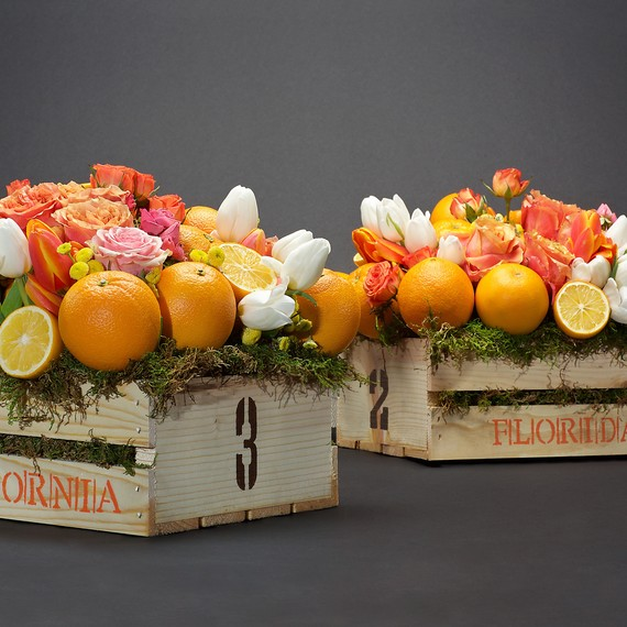 citrus centerpieces orange blossoms table numbers box