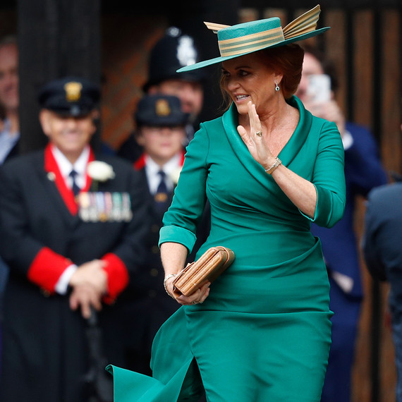 sarah ferguson the duchess of york arrives at the wedding of her daughter, princess eugenie