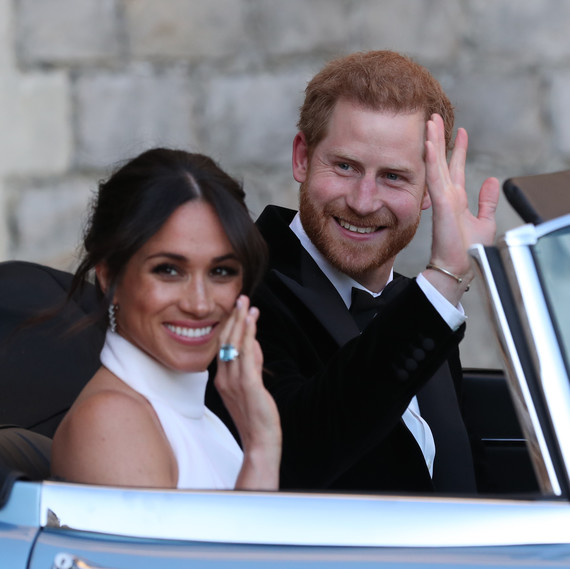 Meghan Markle Prince Harry in Car Waving Royal Wedding 2018