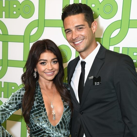 Sarah Hyland and Wells Adams at the 2019 HBO Golden Globes after party