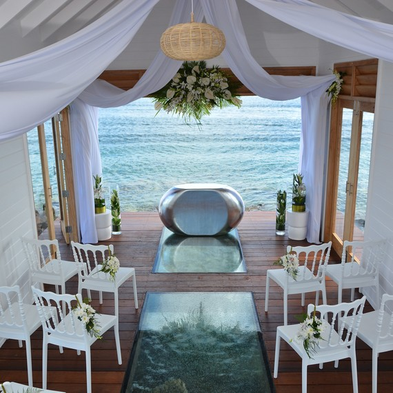 Sandals Resorts' first overwater wedding chapel in the Caribbean, interior