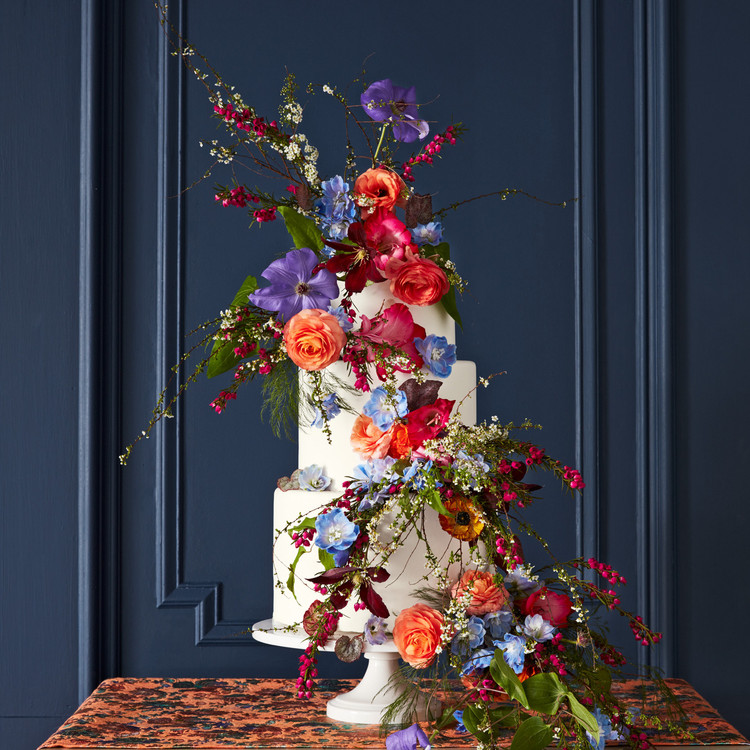 fall floral cake
